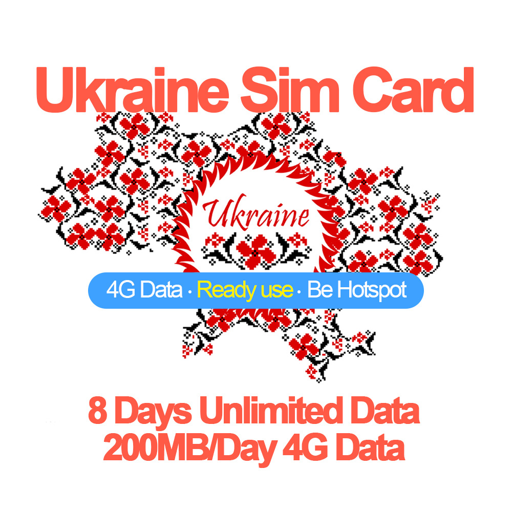Mewfi Ukraine Travel Sim Card 8 Days Unlimited Data No Call 200MB/Day 4G Data 3in1 Mobile Phone Sim Card Kyivstar Local NetworkMewfi Ukraine Travel Sim Card 8 Days Unlimited Data No Call 200MB/Day 4G Data 3in1 Mobile Phone Sim Card Kyivstar Local Network