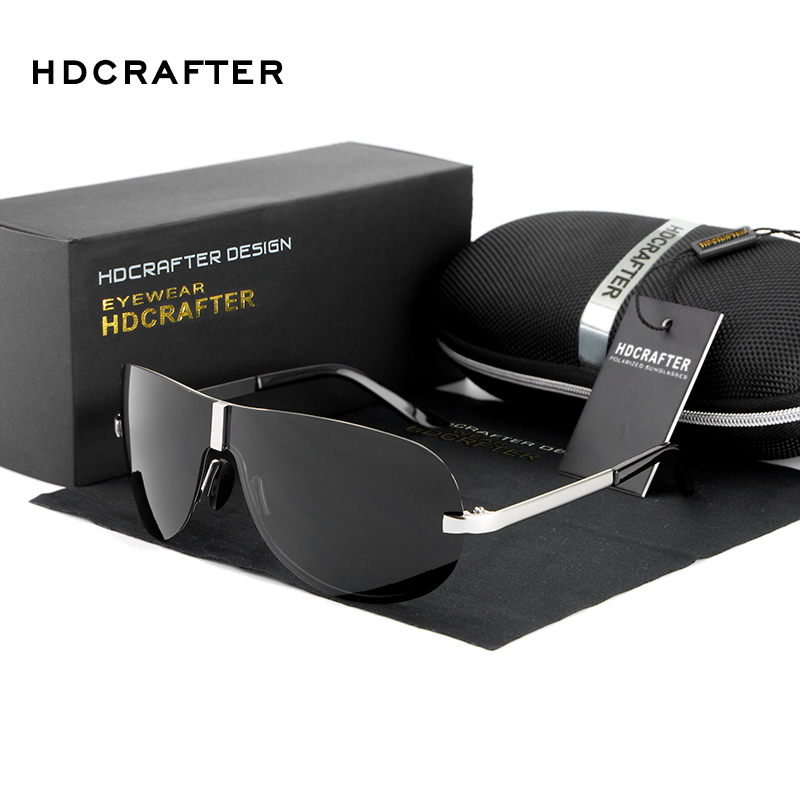 HDCRAFTER Rimless Sunglasses men Polarized UV400 brand design pilot driving sunglasses for men male classic in Men 39 s Sunglasses from Apparel Accessories