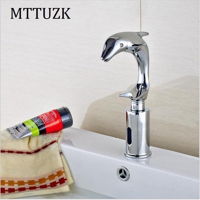 MTTUZK Brass Dolphin faucet Bathroom Sensor Faucet Deck Mounted ...