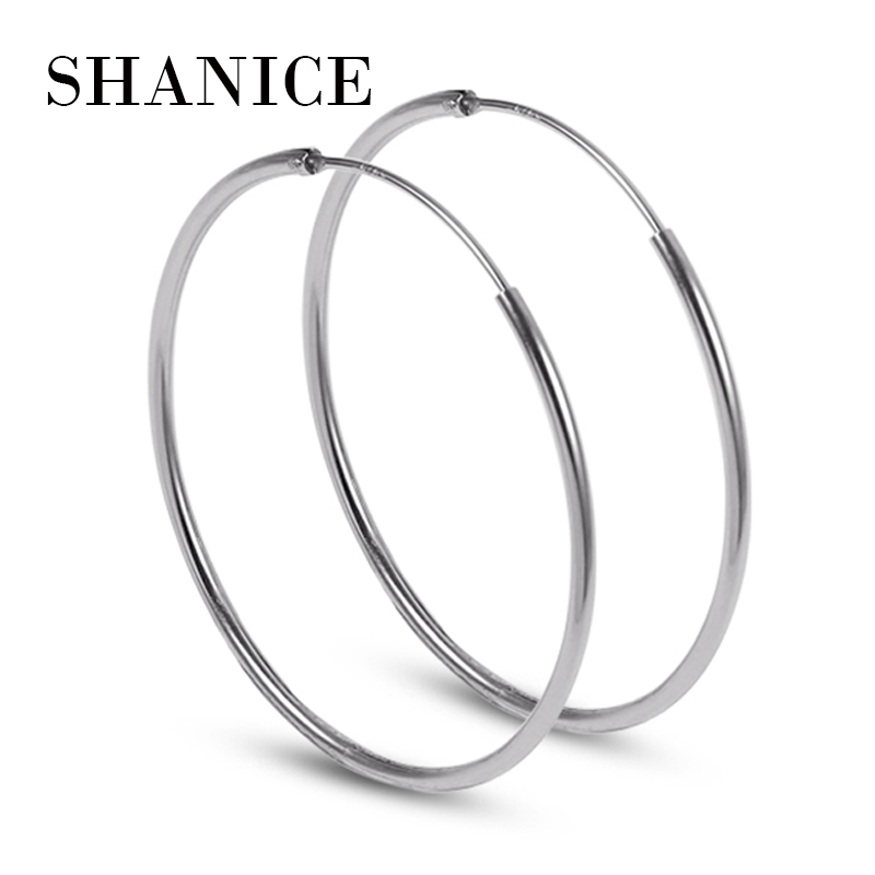 SHANICE Women 100% 925 Sterling Silver Hoop Earring Round Circle Loop Gifts Box Packing Simple Silver Hoop Earrings Piercing silver vintage flower pattern plain round hoop earrings