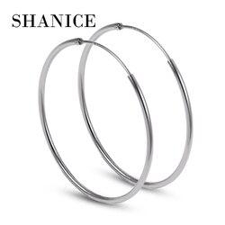 SHANICE Women 100% 925 Sterling Silver Hoop Earring Round Circle Loop Gifts Box Packing Simple Silver Hoop Earrings Piercing