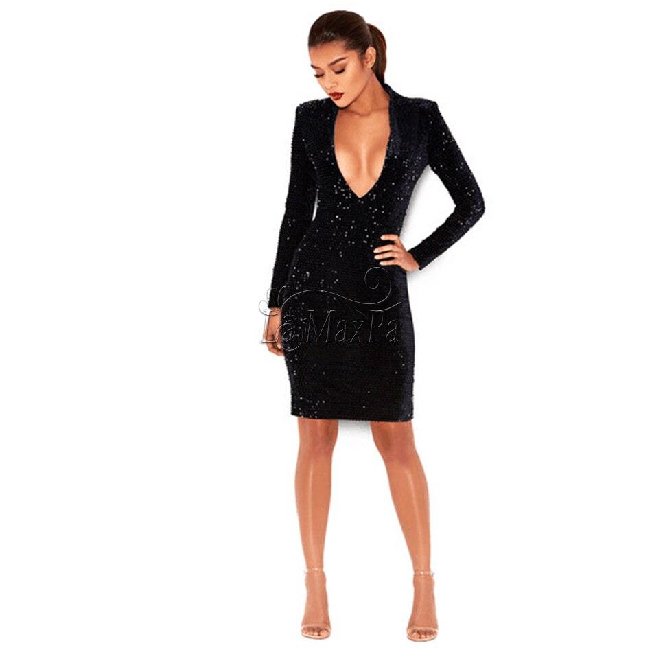 V Royal Partie Robes D'été Noir Clubwear Paillettes Robe 2017 Soirée Bandage Cou Décoration Moulante Femmes De n6IqwpxPt
