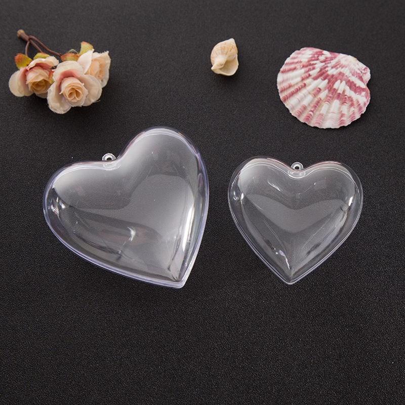 1 Set 65/80mm DIY Clear Plastic Clear 2Pcs Bath Bomb Mold Heart Shape Acrylic Mould 80*78*46mm