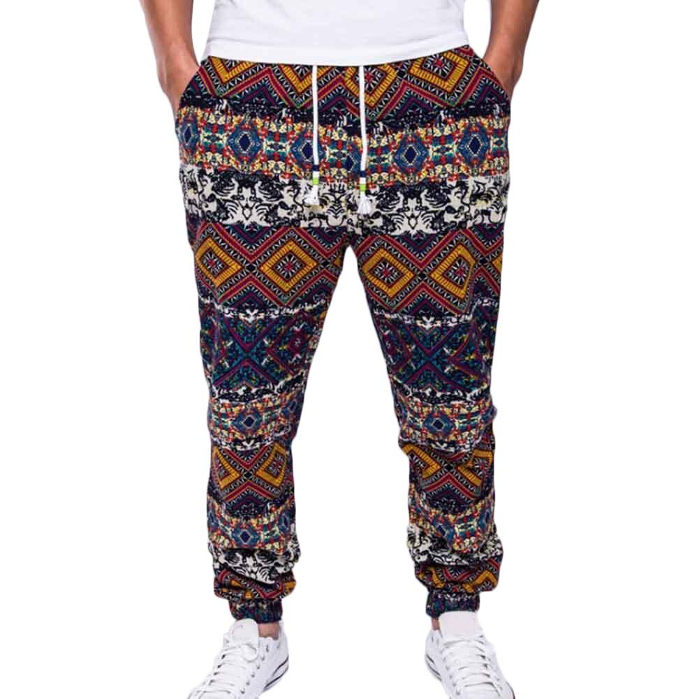 Men'S Harem Pants National Style Printed Drawstrings Pants Cotton Linen Drawstring Pockets Size Plus Casual Men Long Trousers