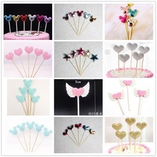 5pcs/pack Color Bling Pure Stars Heart Corwn Flower Shape Toothpick Cake Decoration Cute Lovely Gifts Wedding Birthday Party