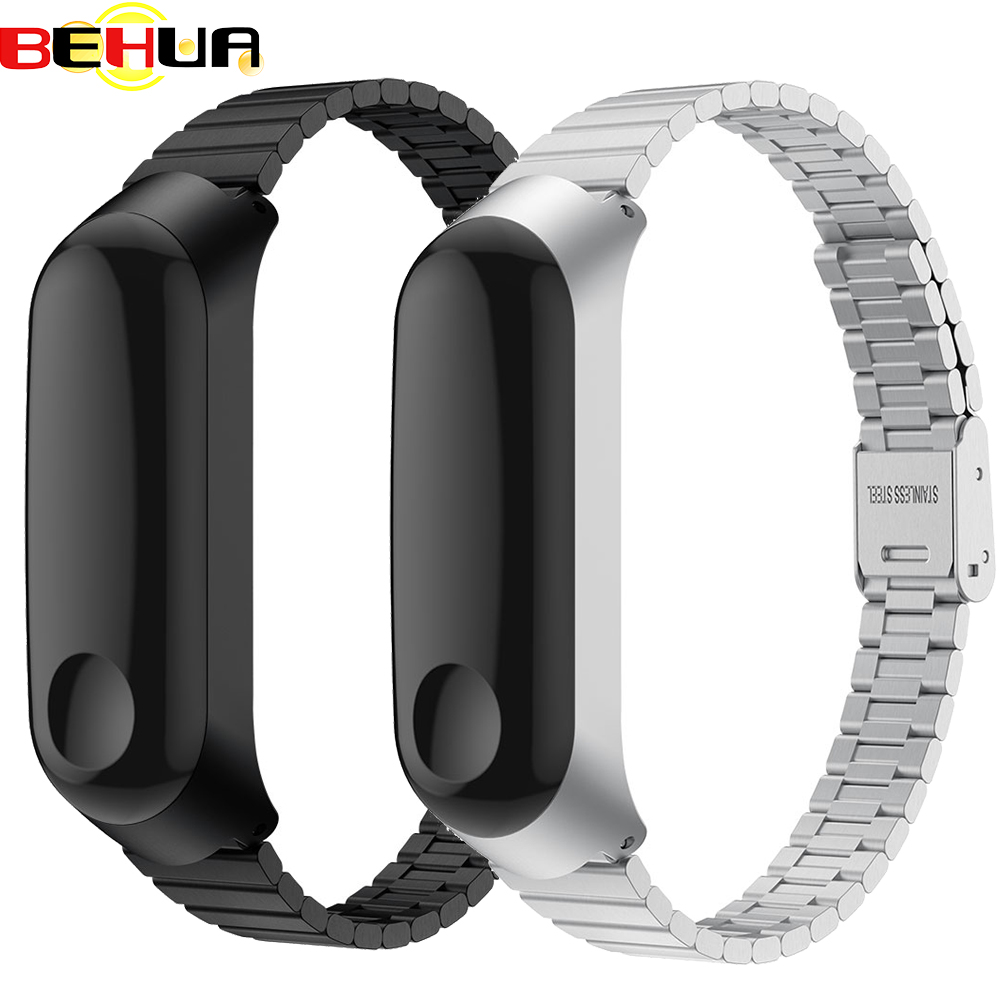Stainless Steel Wrist Strap For Xiaomi Mi Band 3 Metal Watch Band With Case Smart Bracelet Miband 3 Belt Replaceable Watch Strap