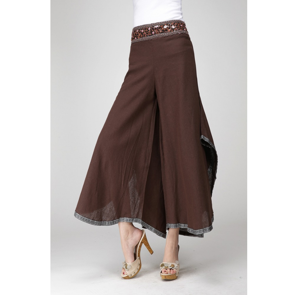 Coffee Vintage Ethnic   Wide     Leg     Pants   Women 2017 New Spring Summer Chinese High Waist Trousers Boho Harem   Pants   Oversize