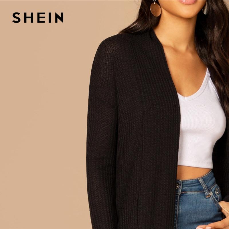 SHEIN Black Split Side Longline Plain Long Sleeve Cardigan Outerwear Coat Women's Shein Collection