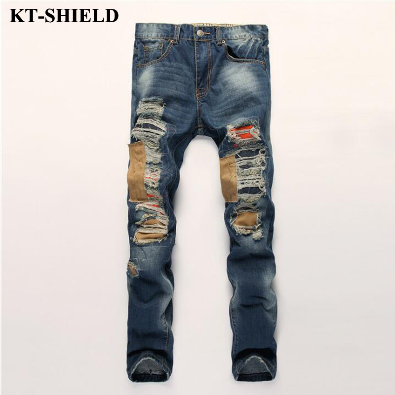 2017 new mens brand jeans 100 cotton ripped fashion denim trousers men slim fit skinny distressed