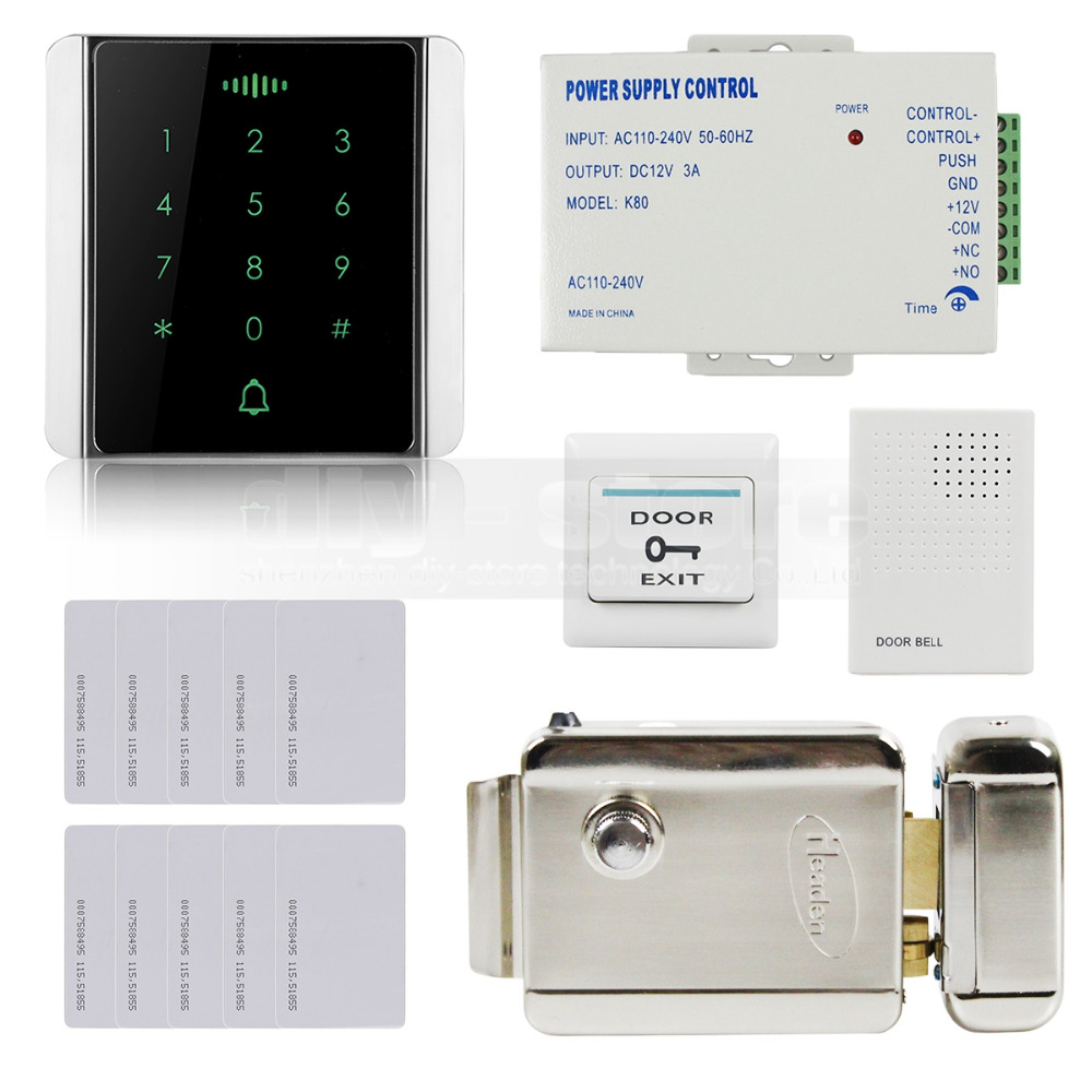 DIYSECUR 125KHz RFID Reader Password Keypad + Electric Lock + Door Bell Access Control System Security Kit wired keypad reader entry door lock access control security system kit with 5ps 125khz card
