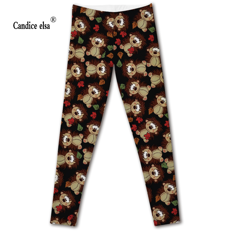 CANDICE ELSA leggings women workout female pants elastic fitness legging cartoon printed trousers plus size drop shipping