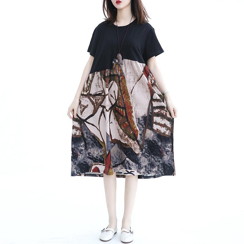 Coton lin grande taille Femmes robes Nouvelle grande taille XXXL 4XL mode décontracté longue Robe sexy décontracté patchwork Robes 150 kg