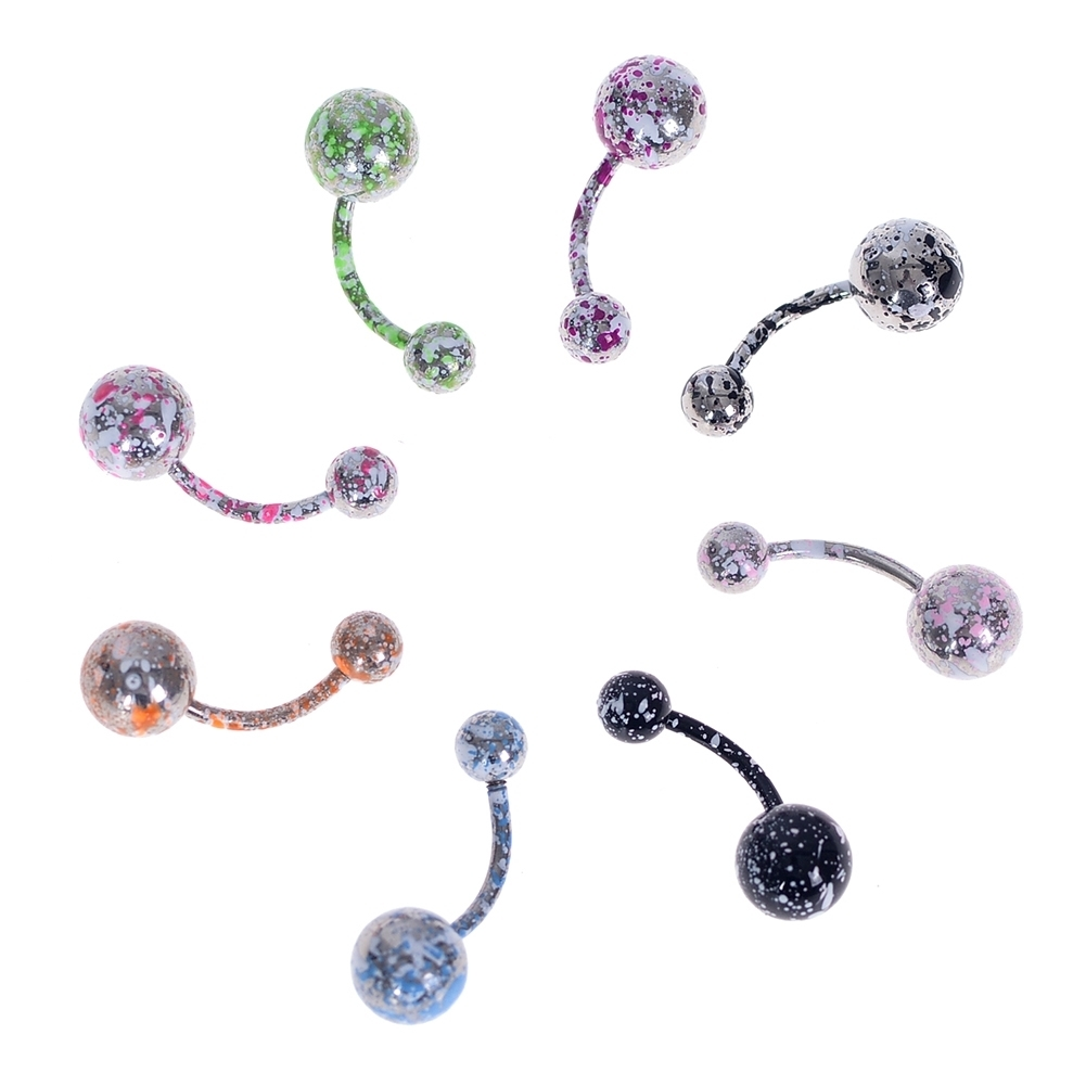 8pcs/lot Titanium Plating Piercing Belly Button Rings 14G Navel Piercing Nombril Ombligo Surgical Steel Body Jewelry