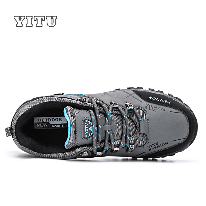Image 2 - YITU Men Profession Hiking Shoes Waterproof Anti Skid Outdoor Trekking Shoes High Quality Climbing Sports Shoes Plus Size 39~47-in Hiking Shoes from Sports & Entertainment
