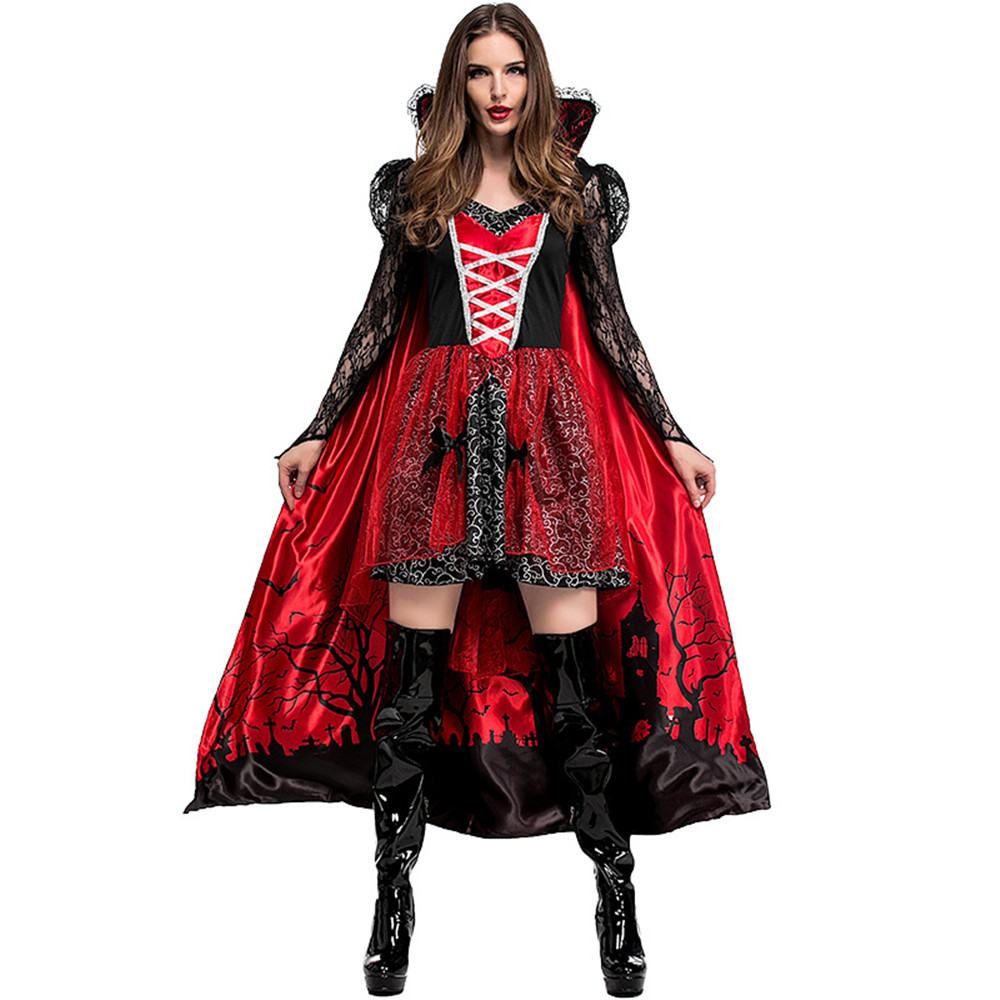 Classical Deluxe Halloween Party Adult Women Blood Vampire Countess Costume Twilight movies Cosplay Cloak & Dresses Size S-XL