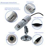 UANME USB 8LED 50 500X 2MP Digital Microscope Endoscope Magnifier Video Camera