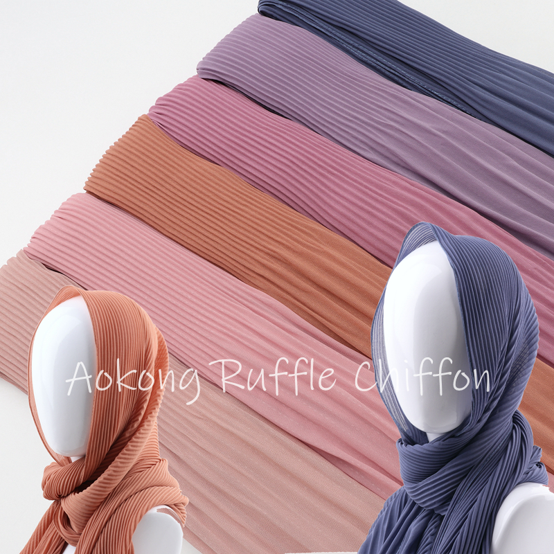 10pcs/lot Women Solid Plain Pleated Chiffon Hijab Scarf Wraps Long Islam Shawls Muslim Crinkle Ruffle Chiffon Scarves Hijabs