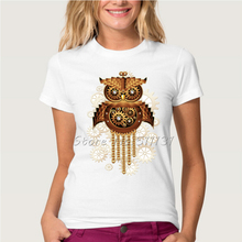 Newest Design Vintage style Steampunk Owl/Cat/Chameleon Printed T-Shirt Summer Woman/Lady Punk Rock Cool Short Sleeve Tee Tops