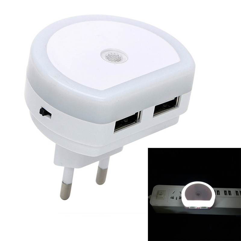 LED Night Lights With Dual USB Port Charger Sensor Light Control Bedroom Wall Lamp Home Emergency Lights EU/US Plug Socket Lamps