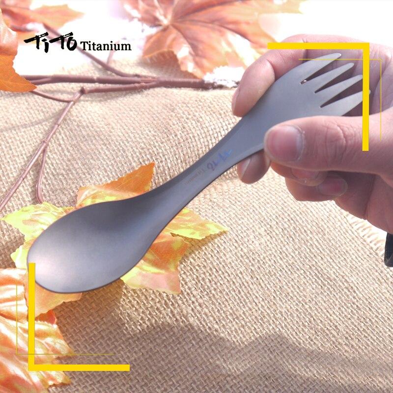 TiTo Outdoor Camping Picnic titanium Spoon Tableware titanium Fork Ultralight pure titanium Spork 4