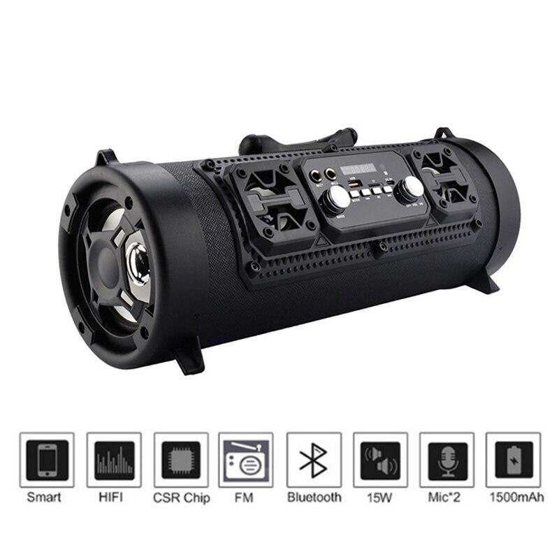 Haut-parleur portatif imperméable de baril de musique de la puissance élevée 15 W de Bluetooth sans fil chaud pour BUS66 extérieur