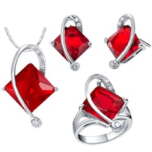 50% de descuento 5 Colores Dubai Africana de Boda Nupcial Rojo de Moda Sistemas de La Joyería de plata para Novias Neckace Pendientes de Cristal Tamaño 6-9 T295