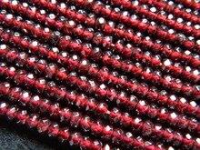 Encantos naturales 3*5mm A + rojo granate facetado rondelle granos flojos de piedra freeshipping al por mayor