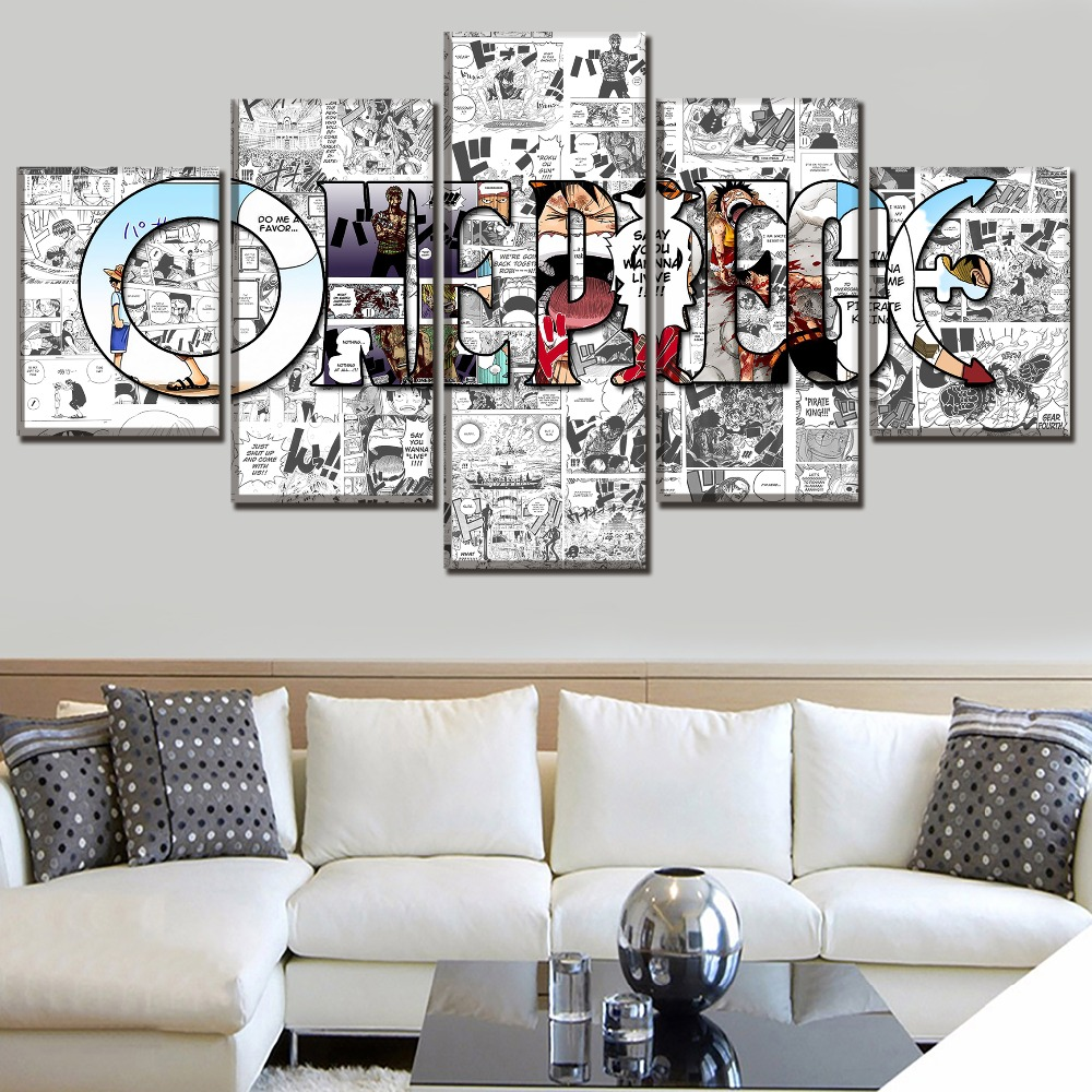 5 Piece Poster Modern Decorative Home Decor Picture HD Print Paintings on Canvas Wall Art Anime ONE PIECE
