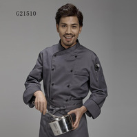 Top quality new cook suit long sleeve restaurant cook chef uniform Unisex hotel kitchen work wear breathable Well design G21507