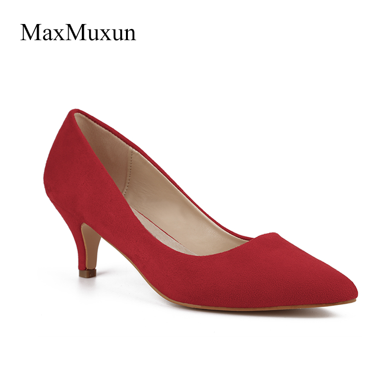 MaxMuxun Womens Low High Heel Pumps Ladies Katy Pointed Closed Toe Suede Dress Pumps Red Blue Black Stiletto Heels Dance Shoes виниловая пластинка katy b katy b little red 2lp