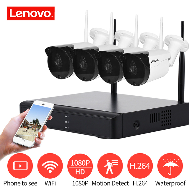 LENOVO 4CH מערך HD בית WiFi אלחוטי אבטחת מצלמה מערכת DVR ערכת 1080 p CCTV WIFI חיצוני מלא HD NVR ערכת מעקב מדורג