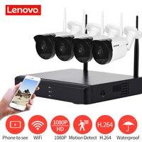 LENOVO 4CH Array HD Thuis WiFi Draadloze Bewakingscamera DVR Kit 1080 P CCTV WIFI Outdoor Full HD NVR Surveillance Kit Nominale