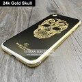 24 К Золотой Череп Корпус для IPhone 7 Назад КОРПУС Позолоченный череп Золотой Концепция Металл Назад Крышку Корпуса для Iphone 7 Plus