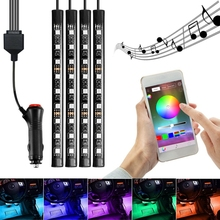 SITAILE 4x автомобиля LED RGB музыка интерьер атмосферу пол underdash Освещение RGB музыка Управление прокладки комплект для iPhone Android