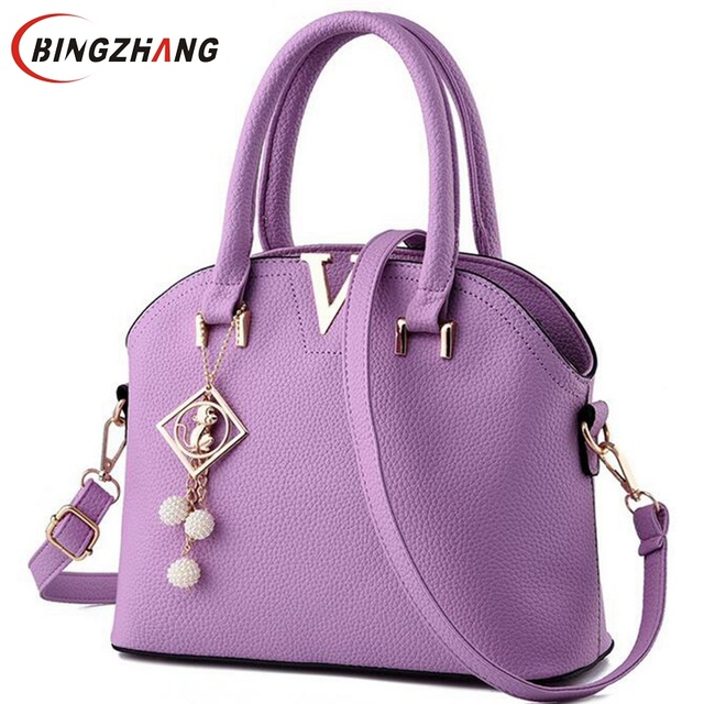 e38ba9d2b3a5 2018 New Women Leather Handbags Fashion Shell Bags V Letter Hand Bag Ladies  Tote Messenger Shoulder