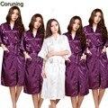 Женщины Шелкового Атласа Длинный Ночной Халат Solid Кимоно Одеяние Мода Банный Халат Сексуальный Халат Пеньюар Femme Свадьбы Невеста Невесты Халат