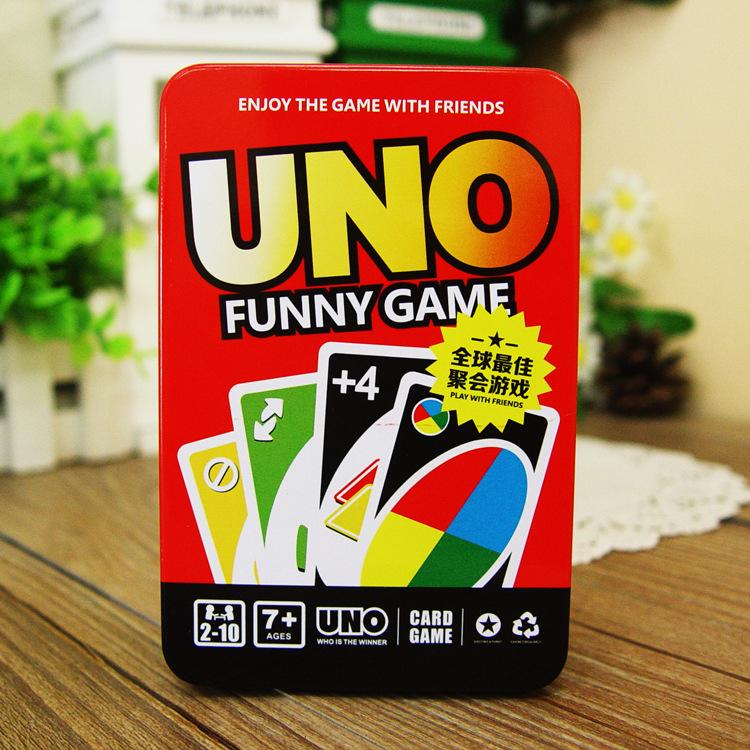 Metal Box UNO Card Game Set Classic Party Family Fun Games