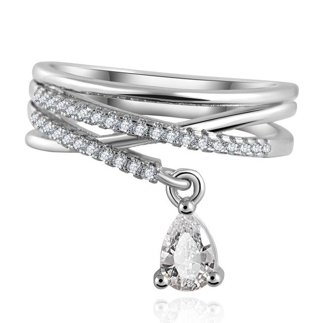 17KM Anel Feminino Multilayer Cross Wedding Crystal Water Drop Ring Anillos Mujer Fashion Jewelry Zircon Rings For Women CS12