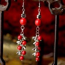 Милые женские этнические висячие серьги, красный камень, шар, цинковый сплав, цветок, висячие серьги с металлическим крючком, винтажные модные ювелирные изделия