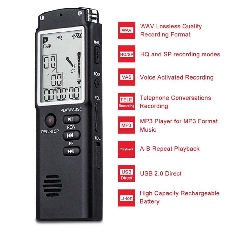 8 GB 16 GB 32 GB enregistreur vocal USB professionnel 96 heures Dictaphone enregistrement vocal Audio numérique 1536 KBPS avec WAV, lecteur MP3