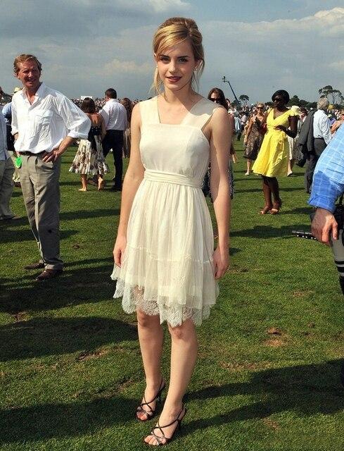 070bd3d608 Emma Watson Simple White Dress Lace Square Neck A-line Pleats Chiffon  Celebrity Dress Party Gown