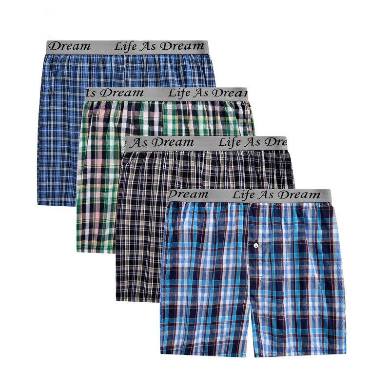 4Pcs/Lot Classic Plaid Men's Boxers Cotton Mens Underwear Trunks Woven Homme Arrow Panties Boxer Plus Size 4XL Homme