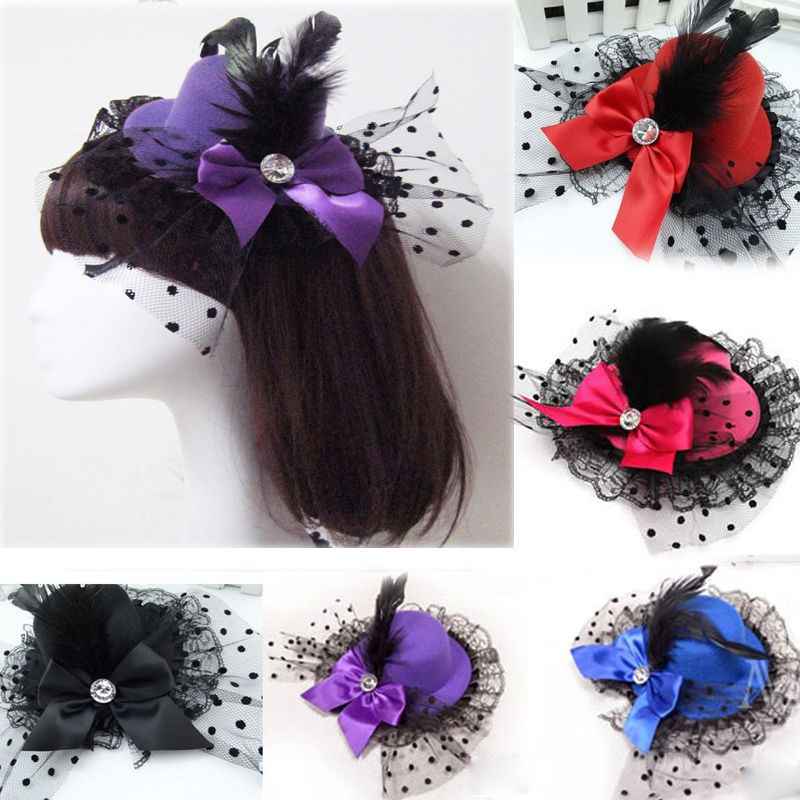 1 Pcs Hair Clip Costume Hair Band Accessories Lady Mini Feather Rose Top Hats Cap Lace Fascinator Hair Accessories Mother & Kids