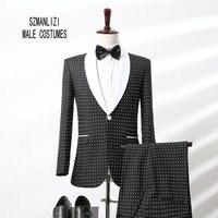 2017 Elegant Brand Designs Dots Men Suits White Shawl Lapel Formal Wedding Dress Groom Tuxedos Groomsmen