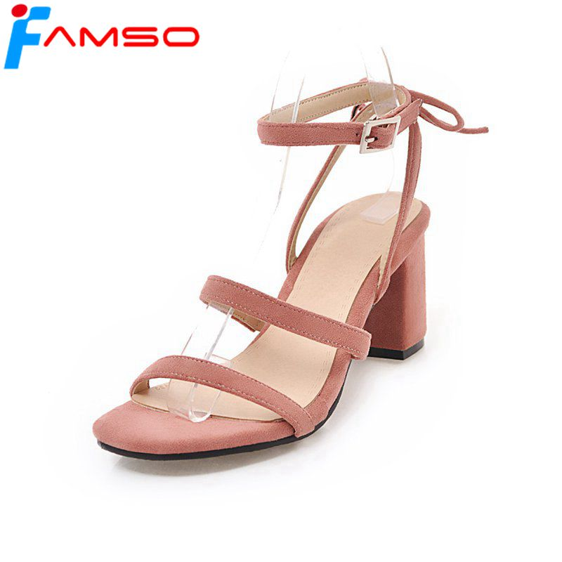 FAMSO 2018 Shoes Women Sandals Big Size 34-43 Cross-Strap Red Wedding Shoes Summer Thick heels Pumps Female Fashion Sandals