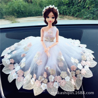 2017 sell like hot cakes 29cm Car furnishing articles model An on-board Lace wedding dress bride doll Ornament Holiday gifts