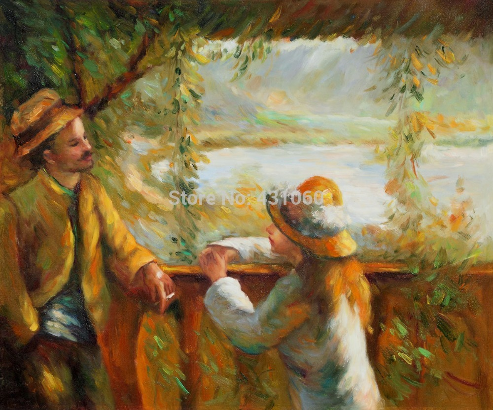 Oil painting on canvas Portrait hand painted Landscape Paintingl Near the Lake II Pierre Auguste Renoir painting High quality