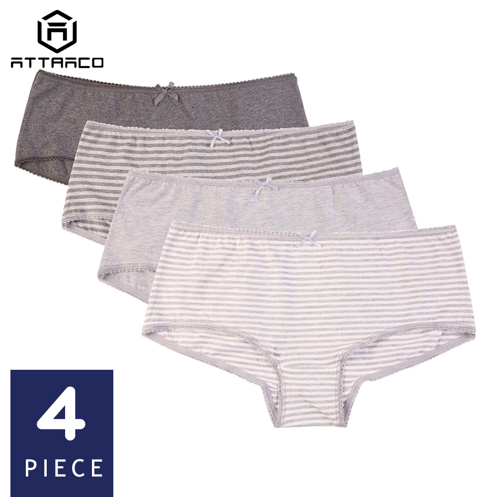 ATTRACO Women's Underwear Cotton Soft   Panties   stripe Hipster Briefs Solid Packs of 4 Cotton Crotch Cueca Calcinha Tanga Thong