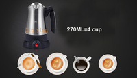 Electrical Coffee Kettle 360 Degree Stainless Pot Cafeteira Expresso Food Grade Portable Turkey taste Maker 270ML