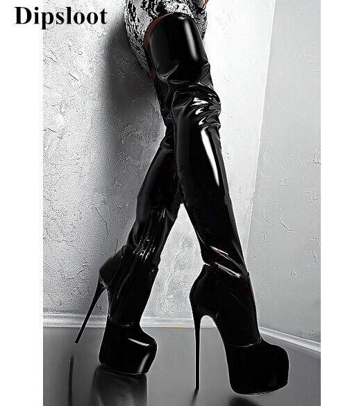 100% QualitäT Dipsloot Hohe Plattform 16 Cm Stiletto High Heels Oberschenkel Hohe Stiefel Runde Kappe Seitlichem Reißverschluss Schuhe Frauen Lackleder Frauen Stiefel Durchblutung GläTten Und Schmerzen Stoppen